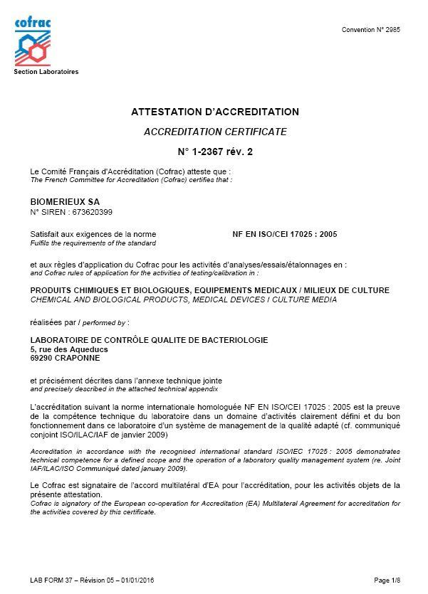 Zertifikate | bioMérieux Austria